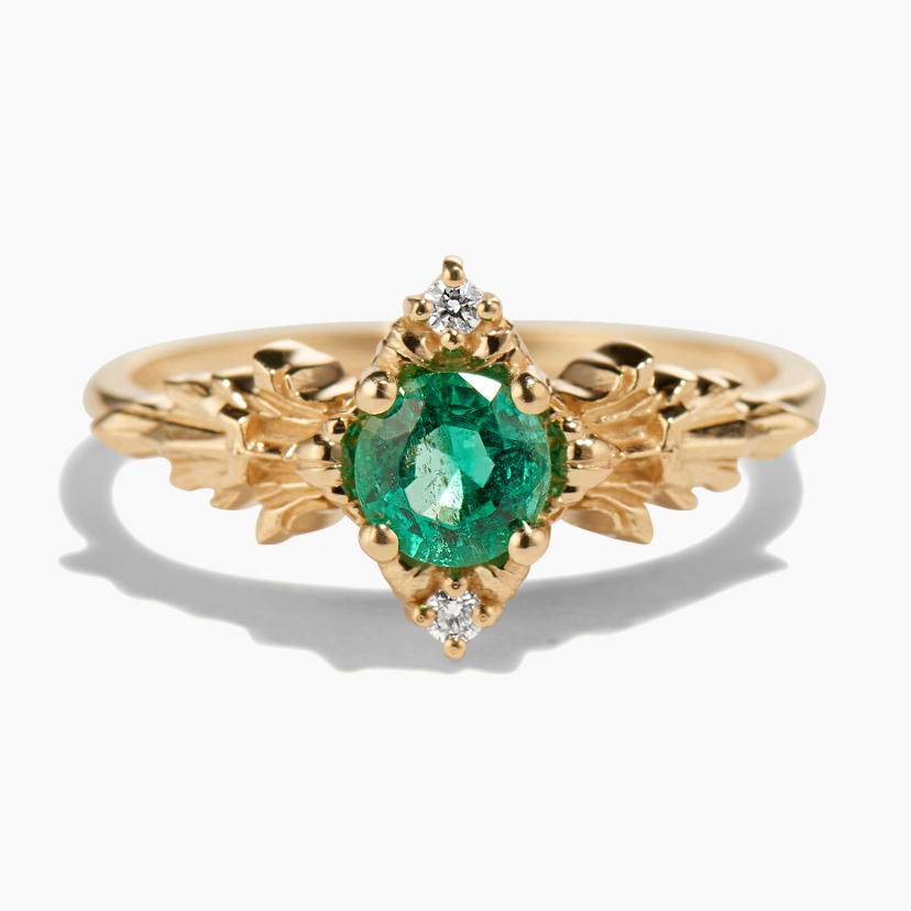 """Soulbound NYC-Bague """" SPIRITUAL STONE OF THE FOREST """", or jaune, émeraude,diamants"""