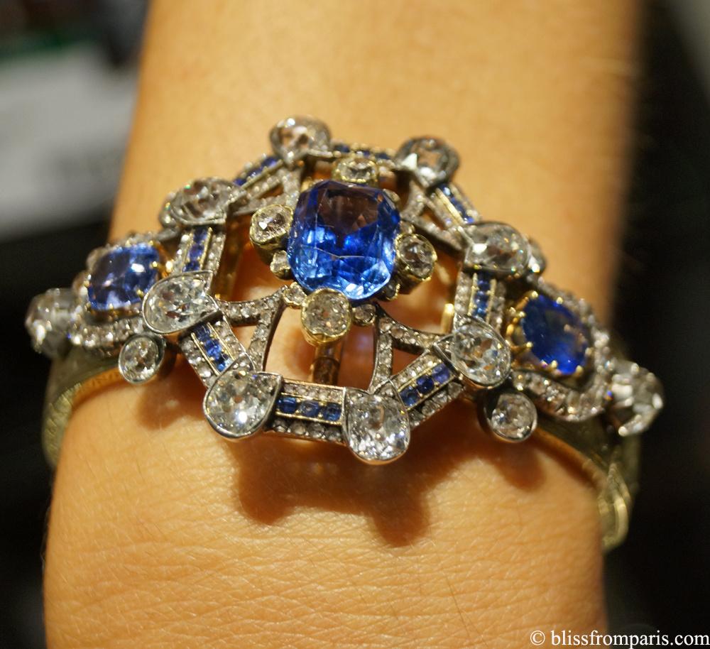 Bracelet en or, diamants de taille ancienne, saphirs; circa XIX siècle