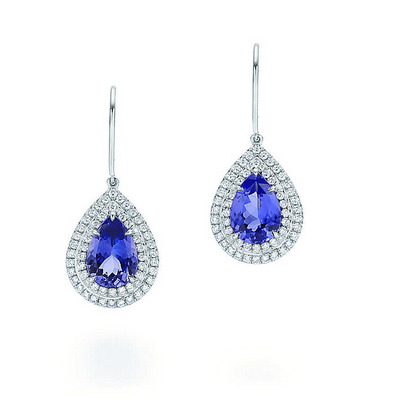 La collection Soleste de Tiffany, bague et boucles d'oreilles en platine,diamants et tanzanite
