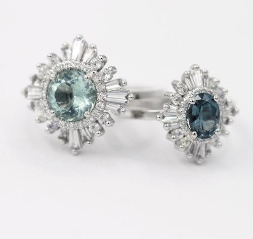 "Heidi Gibson-Bagues ""The Original Gatsby"", or blanc, diamants et saphirs"