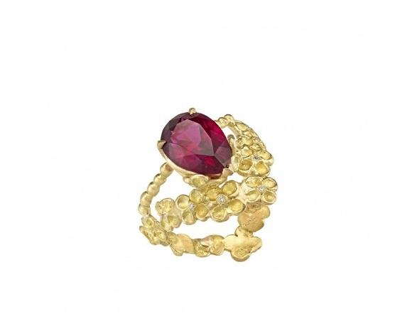 "Anais Rheiner -Bague ""Etincelle rose"", rubelitte, diamants, or jaune"