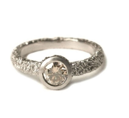 """Welfe-Bague """"SUNKEN SOLITAIRE"""", or blanc, diamant champagne"""