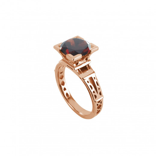 """Tournaire- Bague """"FRENCH KISS"""", grenat , or rose"""
