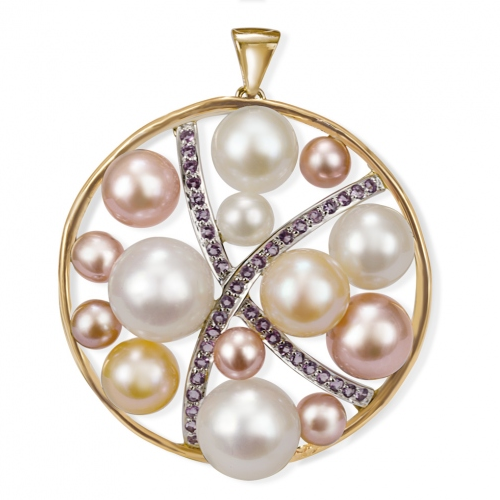Rambaud-pendentif en or jaune et or gris serti d'améthyste, perles d'eau douce rondes blanches, pêche et mauves © Rambaud