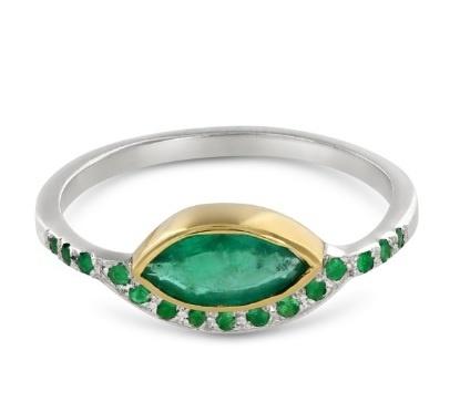 "Ellie Air Jewellery-Bague ""May Emerald"", or jaune et blanc, émeraudes"