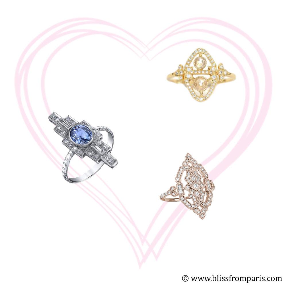De haut en bas et de gauche à droite: Myrtille Beck, Shay Jewelry, Stone Paris