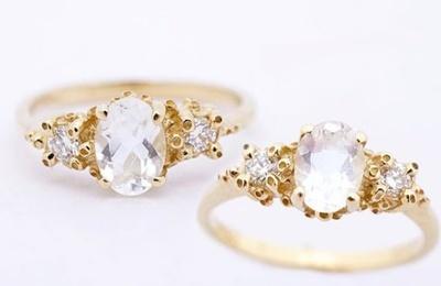 "Ruta Reifen-Bagues ""Moonstone and Diamond"", or jaune, pierre de lune et diamants"