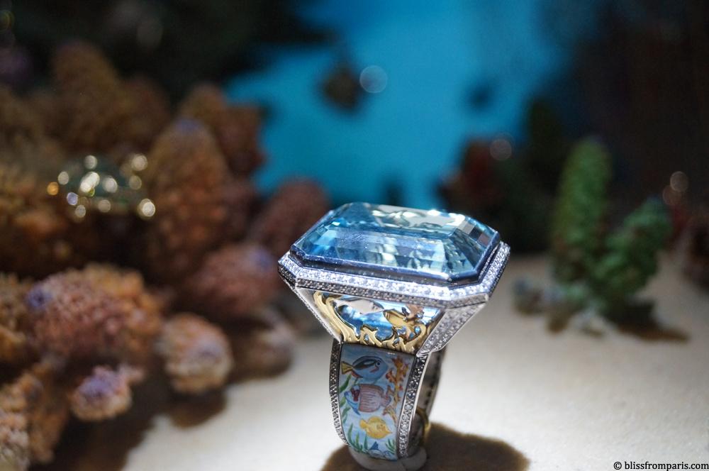 """Bague """"Sub-Aqua"""" de Theo Fennell, aque-marines, diamants"""