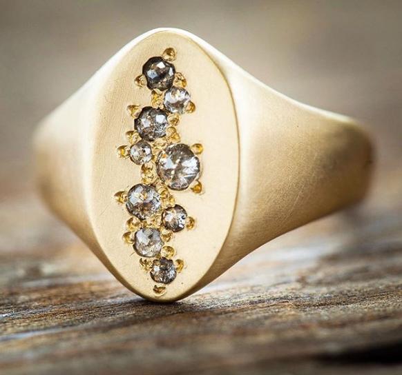 Rebecca  Overmann Jewelry-Signet Diamond Ring